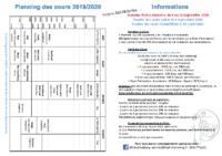 Planning & Tarifs 2019 – 2020