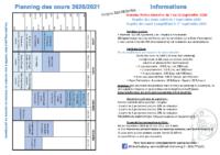 Planning & Tarifs 2020 – 2021